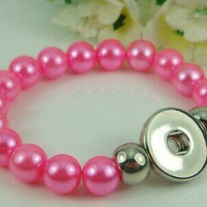 Hot Pink Interchangeable Snap Button Bracelet